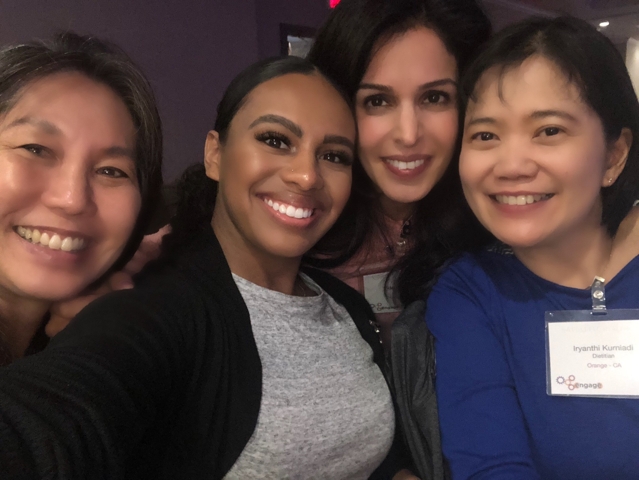 Selfie of four diverse women smiling